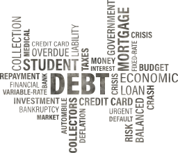student bank budget finance collage business concept annual bad crisis word mortgage market taxes credit cloud house decision debt loan crash