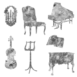 style scrapbook clipart chair decorative desk musical elements scrapbooking classical drawers dresser furniture candle instruments sketch music drawing french stand century violin