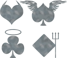 cards evil halo diamond angel poker devil card horns spade suits club trident heart game wings good