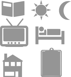 book home symbol bed moon sun tv illustrator