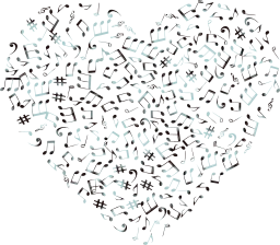 sound musical valentine sonic ornamental ears music notes hearing decorative love treble passion bass heart romance clef aural art audio