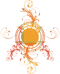filigree symbol grid orange fantasy spring sun flora summer leaves circle tender abstract curlicue concentric graphic plant