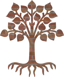 tree roots pictogram leaves